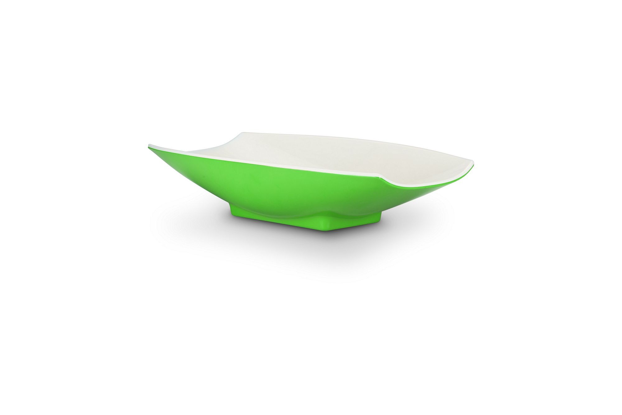 Bon Chef 53703-2ToneLime Melamine Curves Bowl, Lime Outside/White Inside 1 Qt.