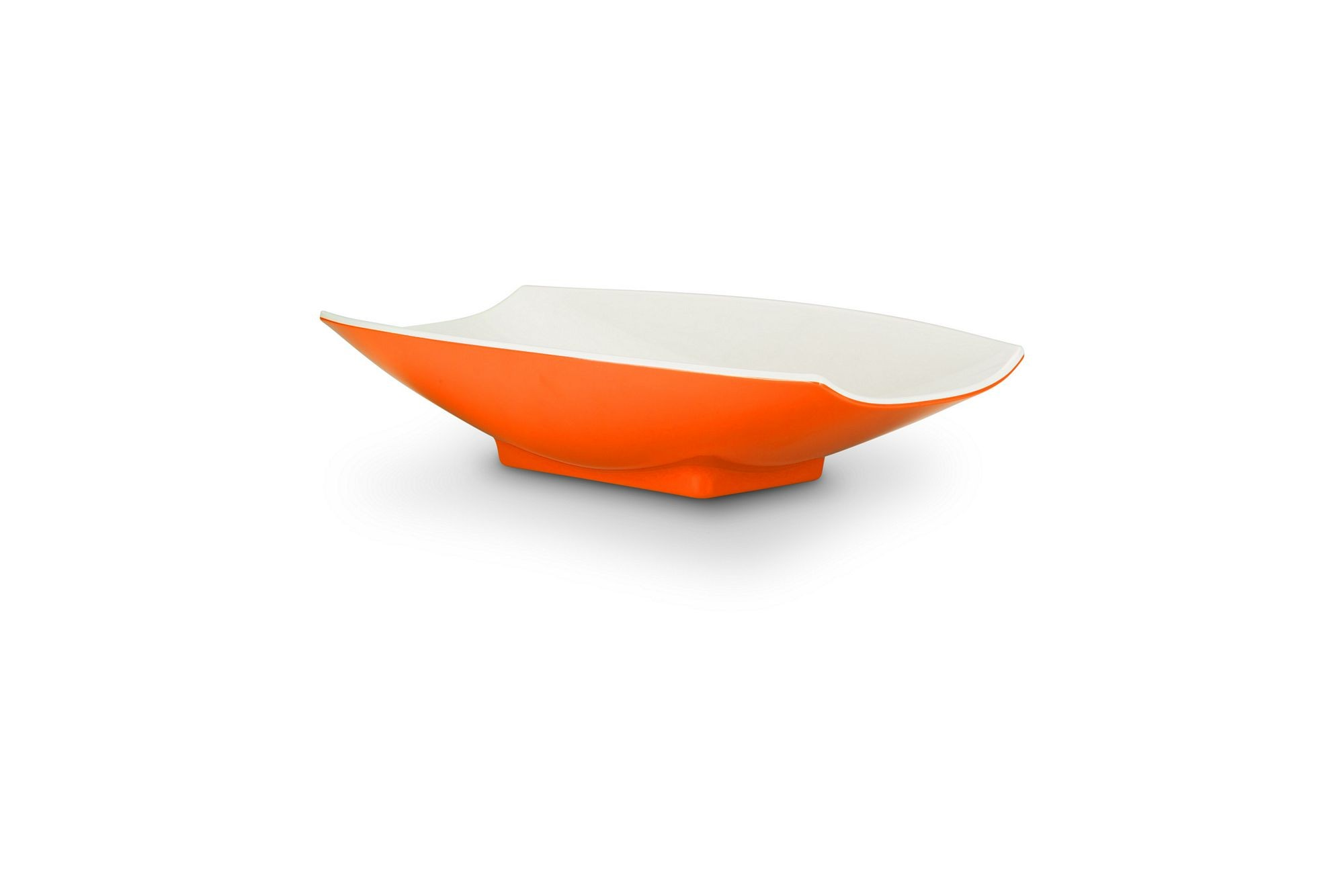 Bon Chef 53703-2ToneOrange Melamine Curves Bowl, Orange Outside/White Inside 1 Qt.