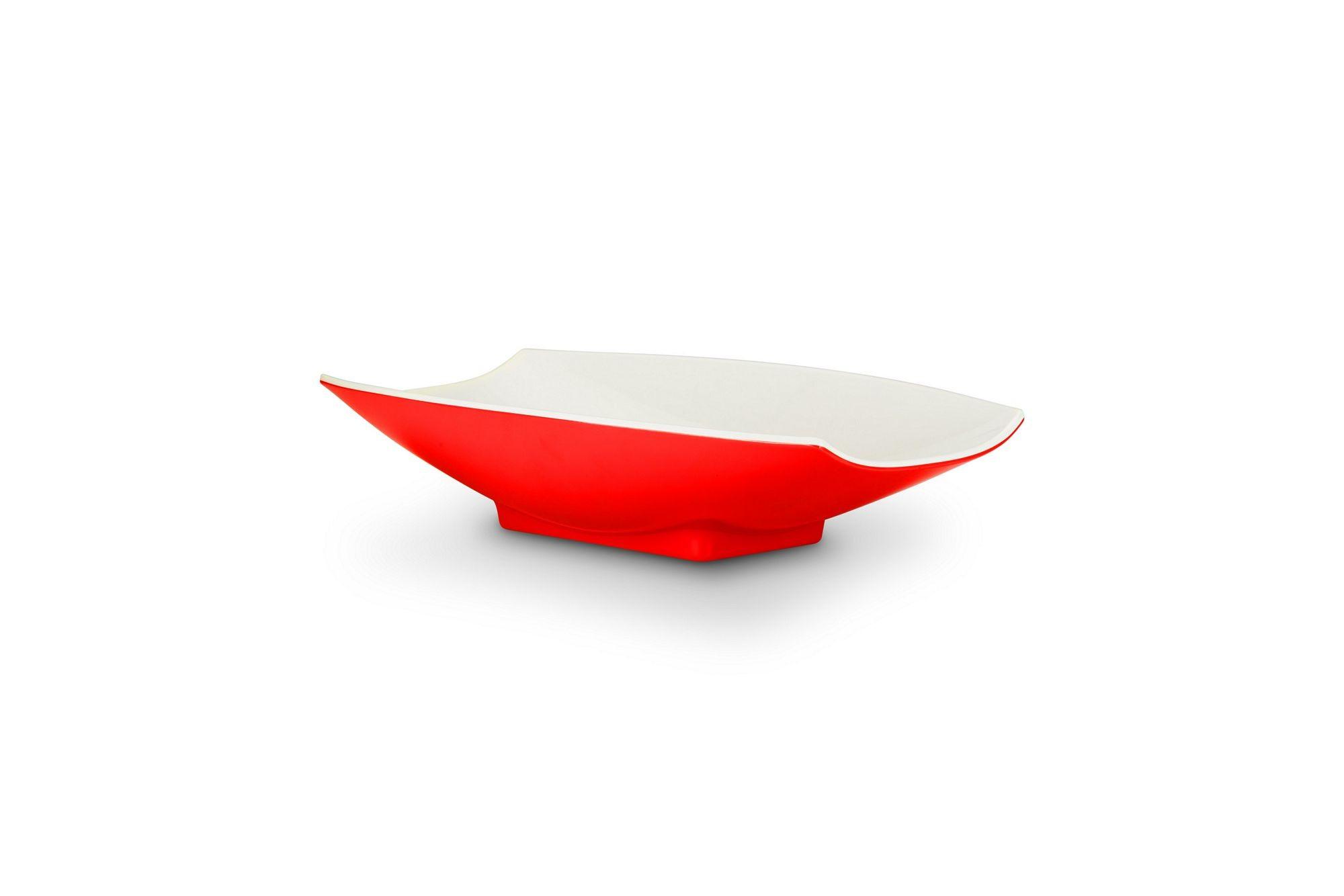Bon Chef 53703-2ToneRed Melamine Curves Bowl, Red Outside/White Inside 1 Qt.