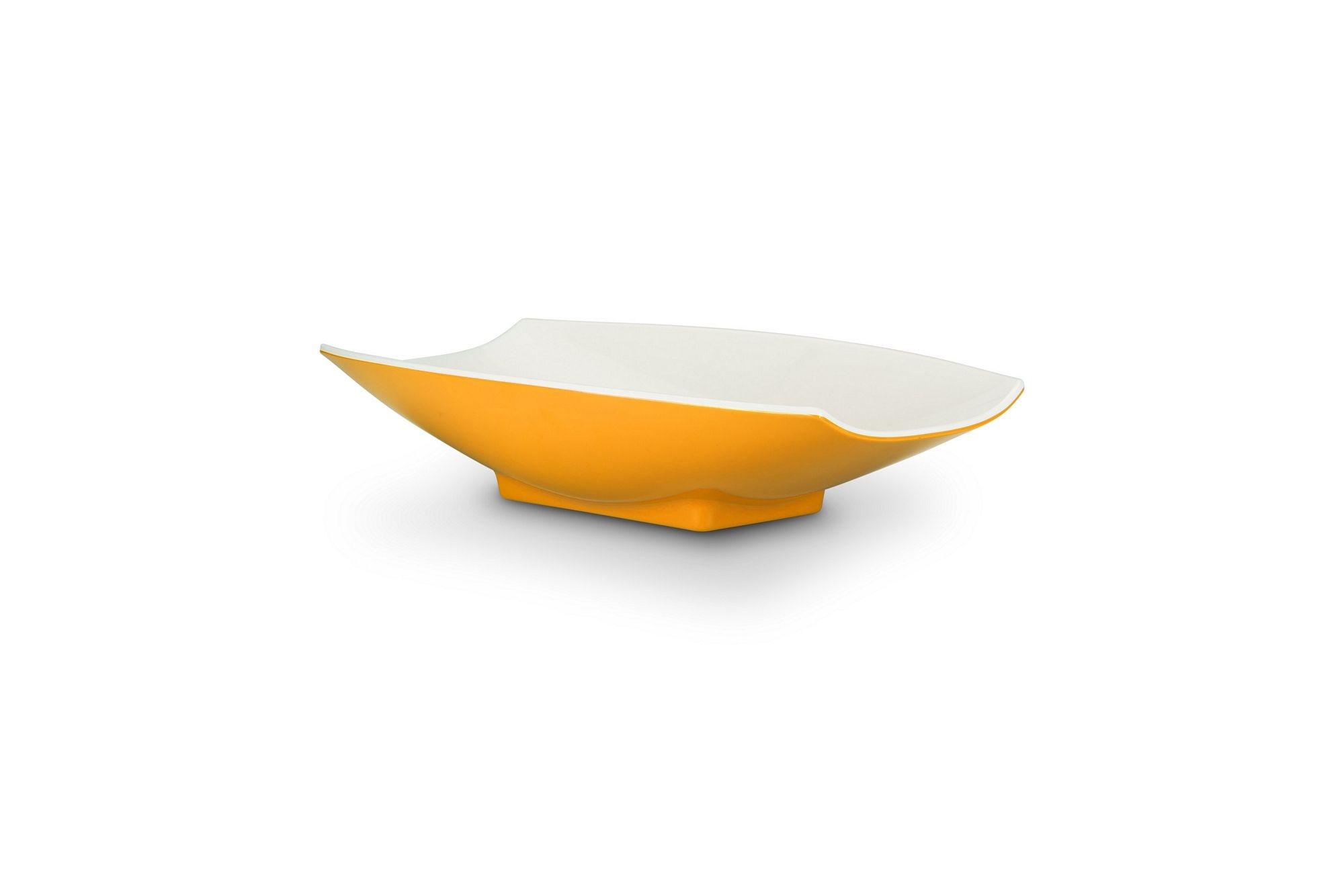 Bon Chef 53703-2ToneYellow Melamine Curves Bowl, Yellow Outside/White Inside 1 Qt.