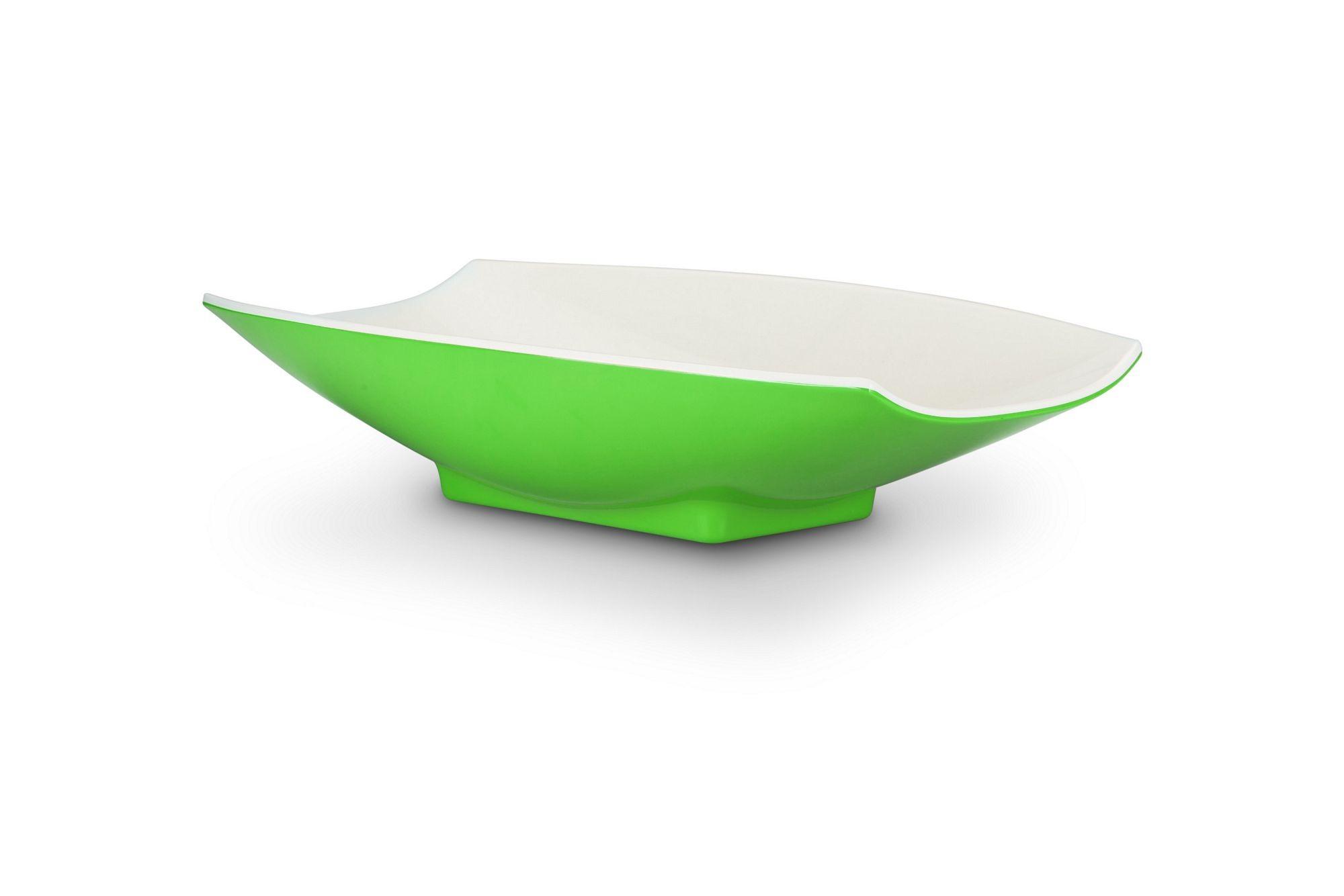 Bon Chef 53704-2ToneLime Melamine Curves Bowl, Lime Outside/White Inside 2 Qt.