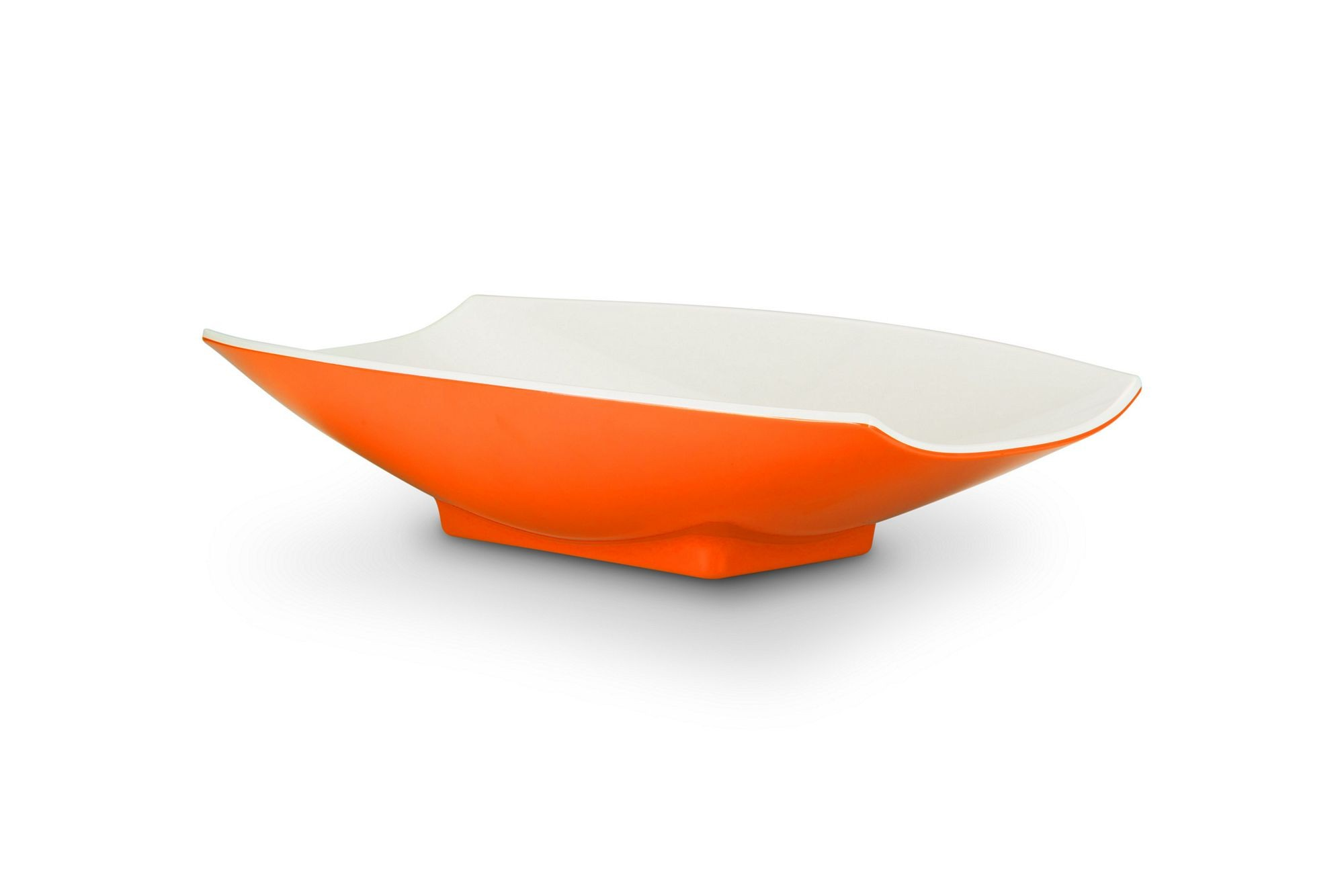 Bon Chef 53704-2ToneOrange Melamine Curves Bowl, Orange Outside/White Inside 2 Qt.