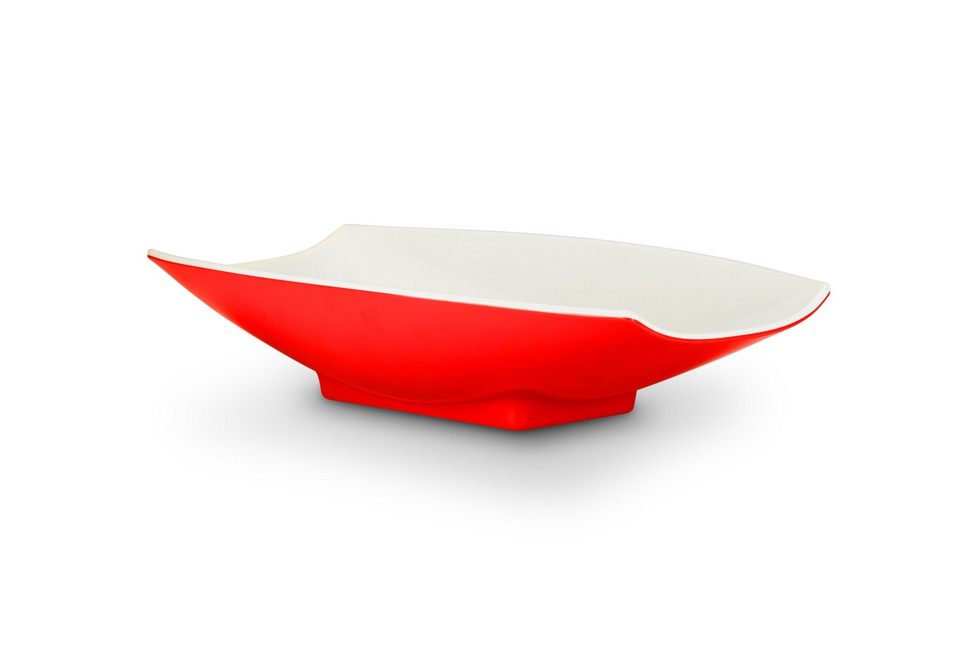 Bon Chef 53704-2ToneRed Melamine Curves Bowl, Red Outside/White Inside 2 Qt.