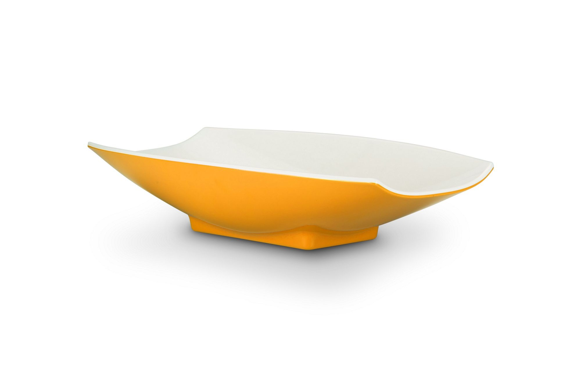 Bon Chef 53704-2ToneYellow Melamine Curves Bowl, Yellow Outside/White Inside 2 Qt.