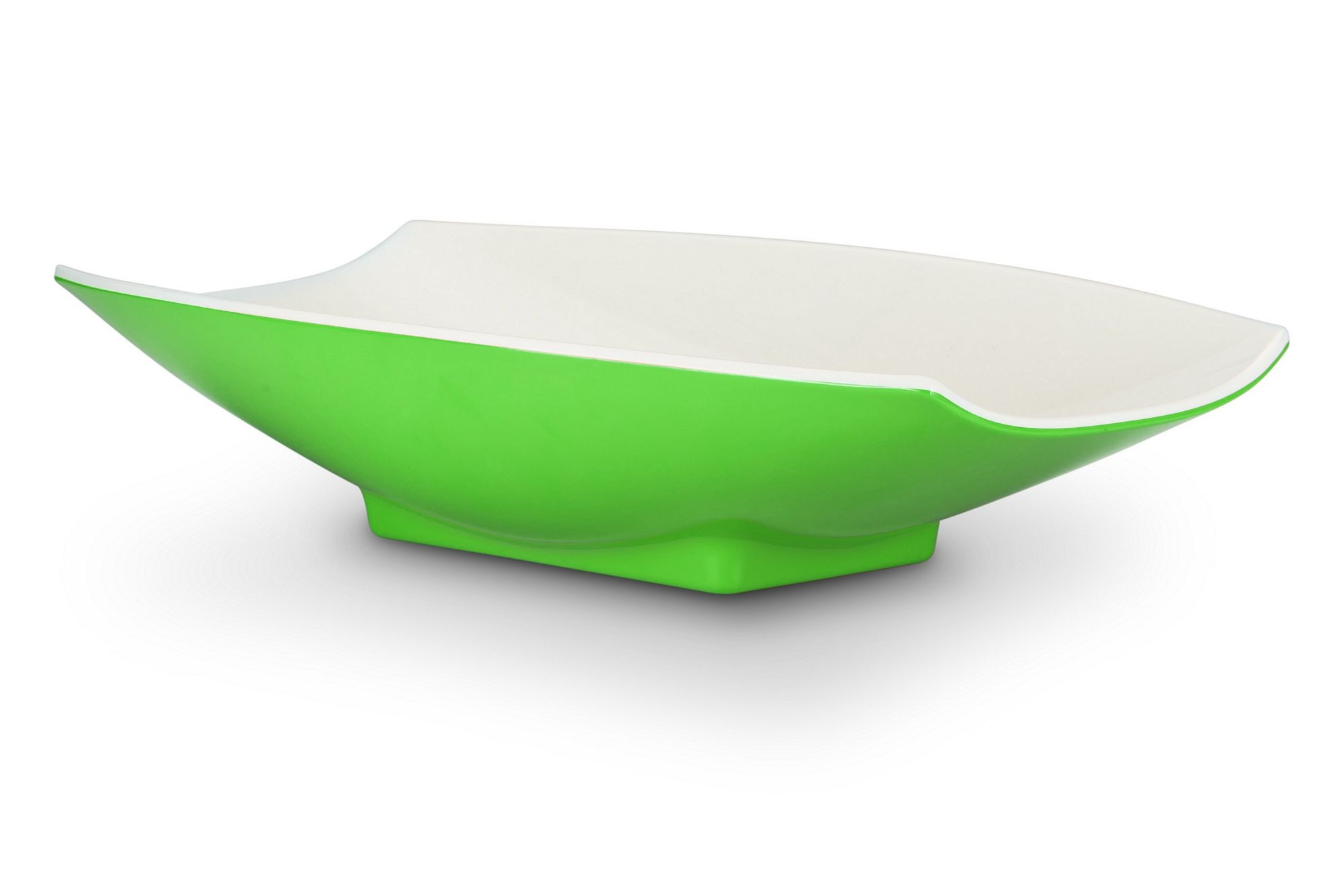 Bon Chef 53705-2ToneLime Melamine Curves Bowl, Lime Outside/White Inside 5 Qt.