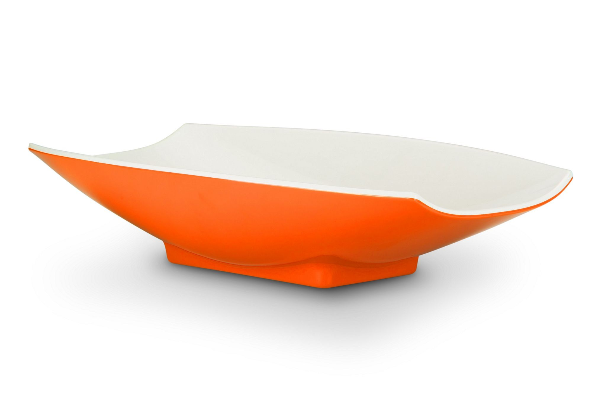 Bon Chef 53705-2ToneOrange Melamine Curves Bowl, Orange Outside/White Inside 5 Qt.