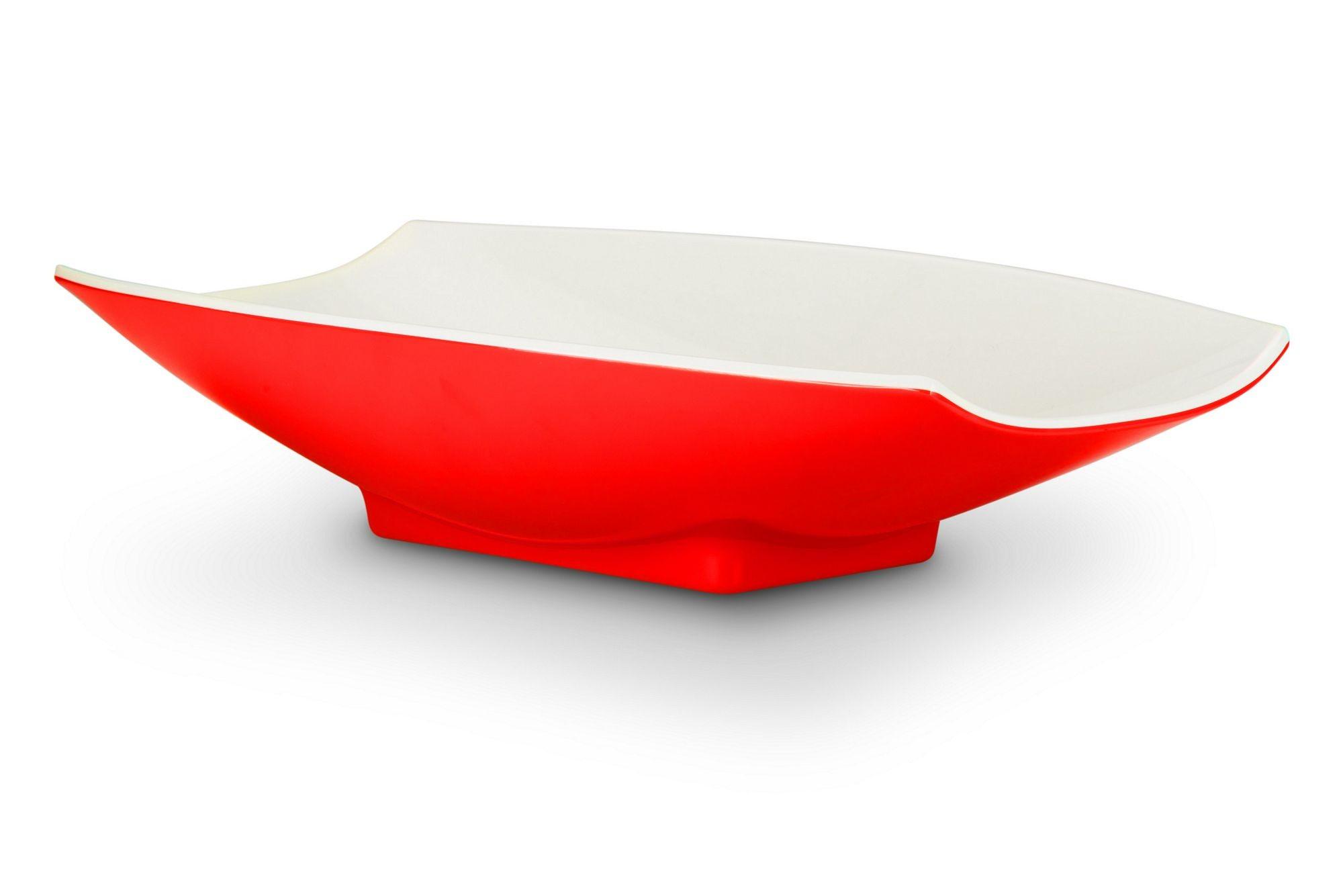 Bon Chef 53705-2ToneRed Melamine Curves Bowl, Red Outside/White Inside 5 Qt.