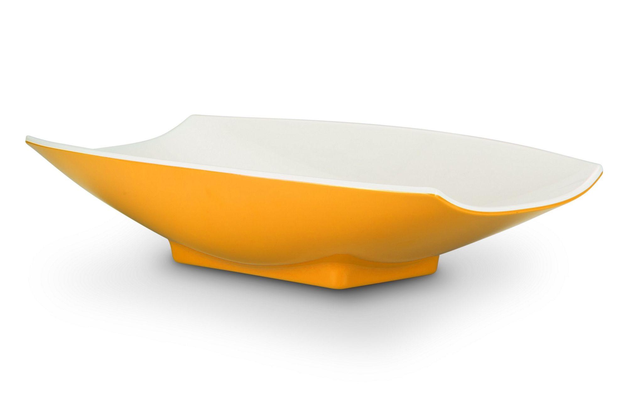 Bon Chef 53705-2ToneYellow Melamine Curves Bowl, Yellow Outside/White Inside 5 Qt.