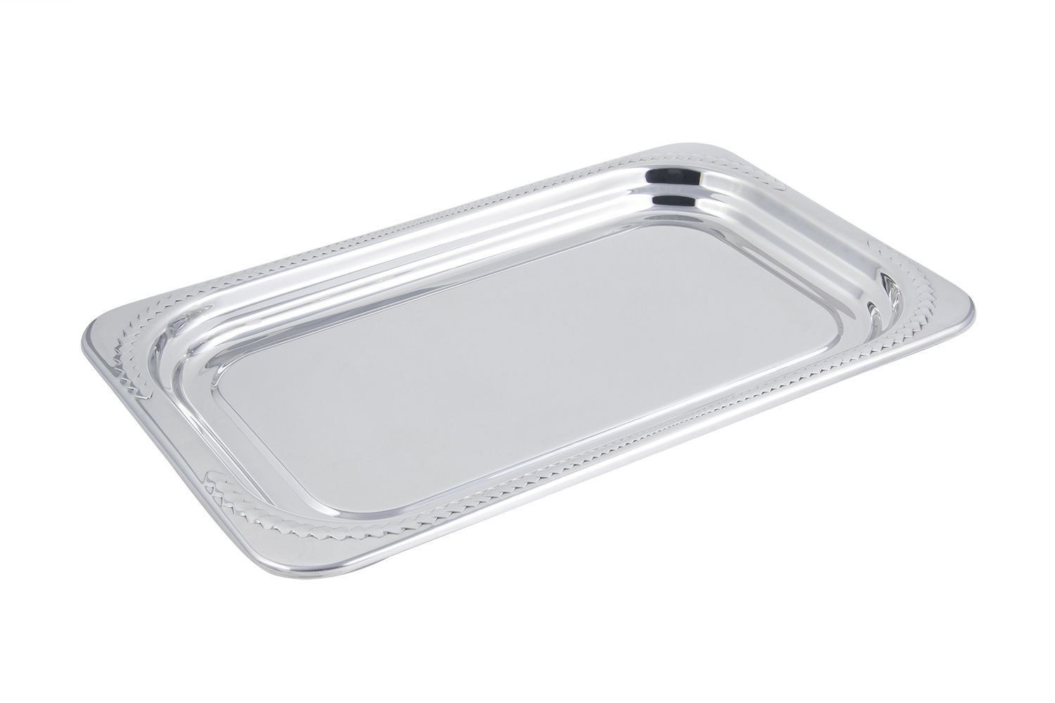 Bon Chef 5407 Laurel Design Rectangular Full-Size Food Pan, 4 1/2 Qt.