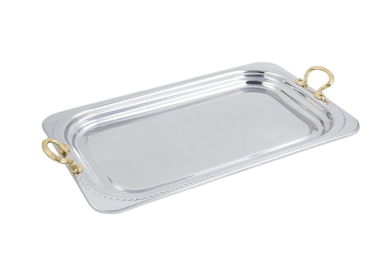 Bon Chef 5407HR Laurel Design Rectangular Full-Size Food Pan with Round Brass Handles, 4 1/2 Qt.