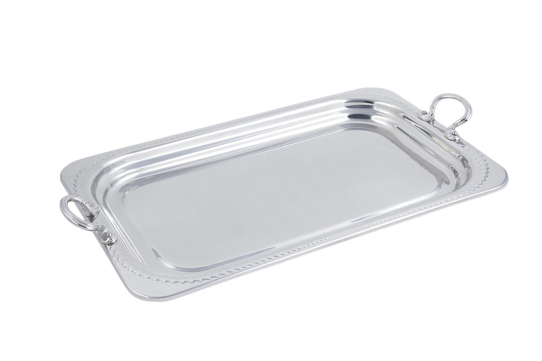 Bon Chef 5407HRSS Laurel Design Rectangular Full-Size Food Pan with Round Handles, 4 1/2 Qt.