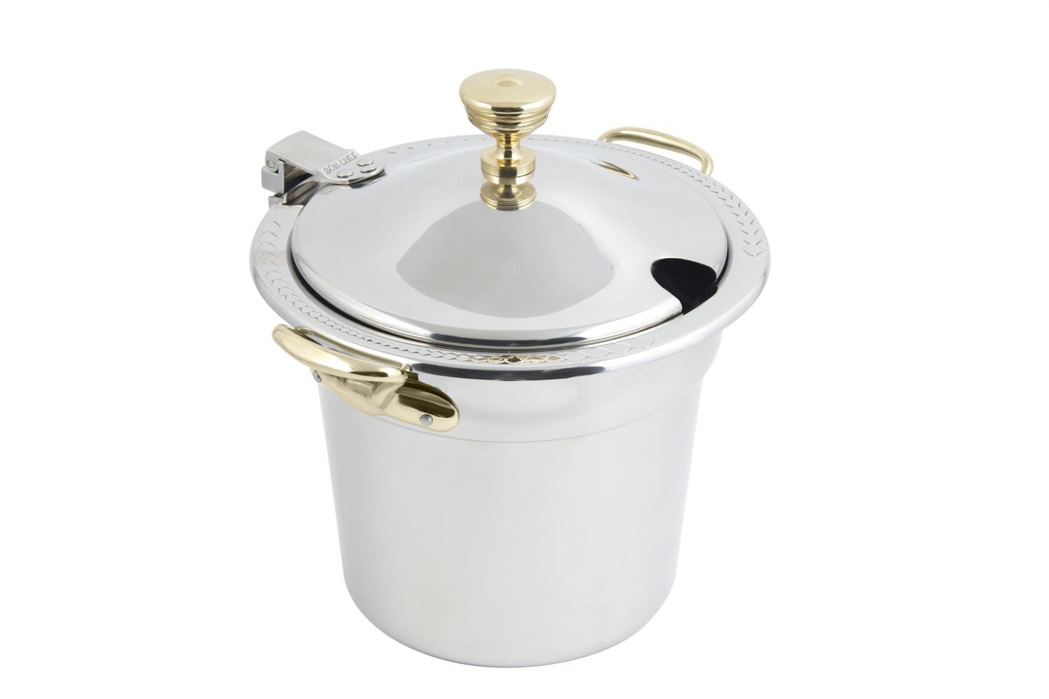 Bon Chef 5411WHCHR Laurel Design Soup Tureen with Hinged Cover and Round Brass Handles, 7 Qt. 1 Pt.