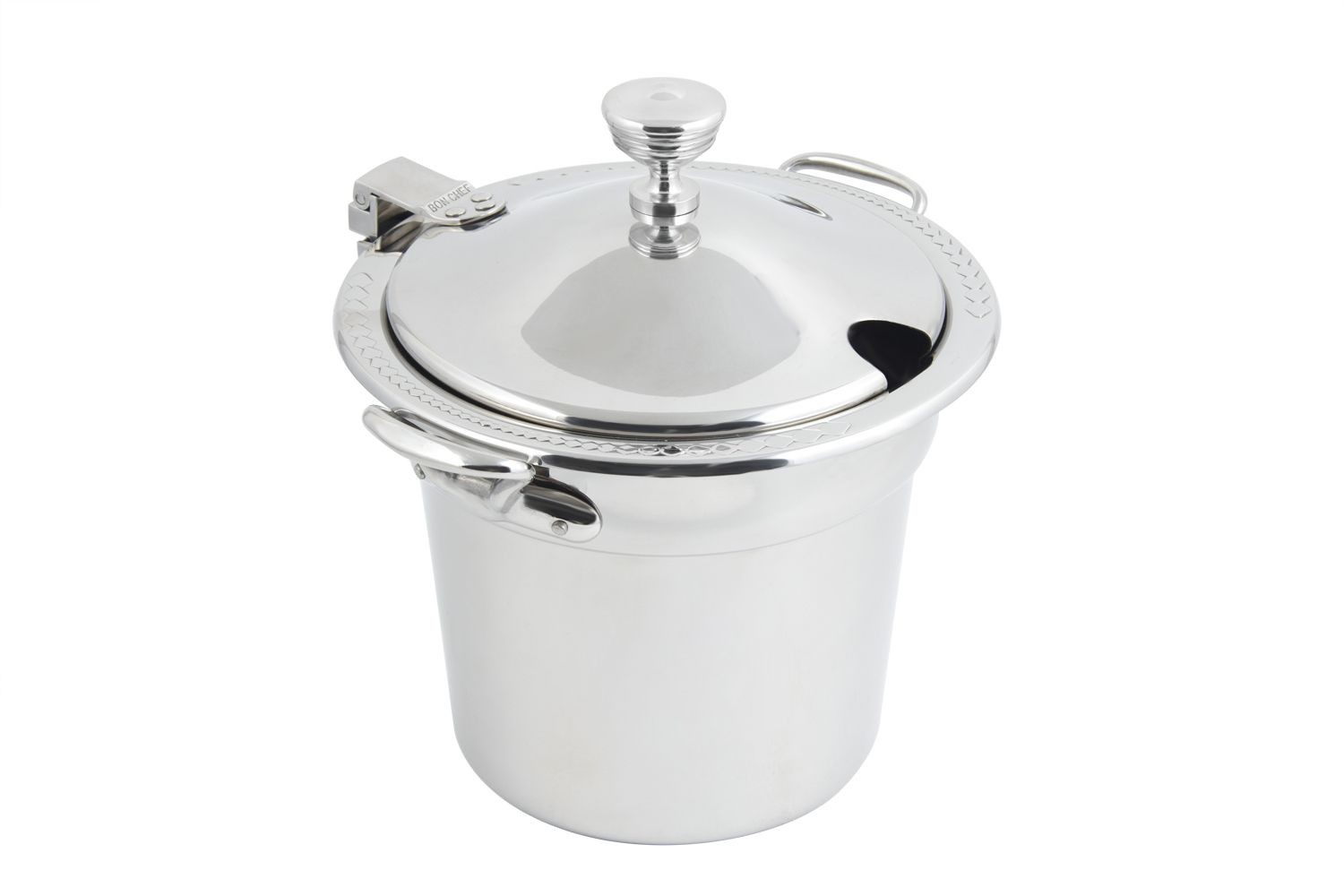 Bon Chef 5411WHCHRSS Laurel Design Soup Tureen with Hinged Cover and Round Handles, 7 Qt. 1 Pt.