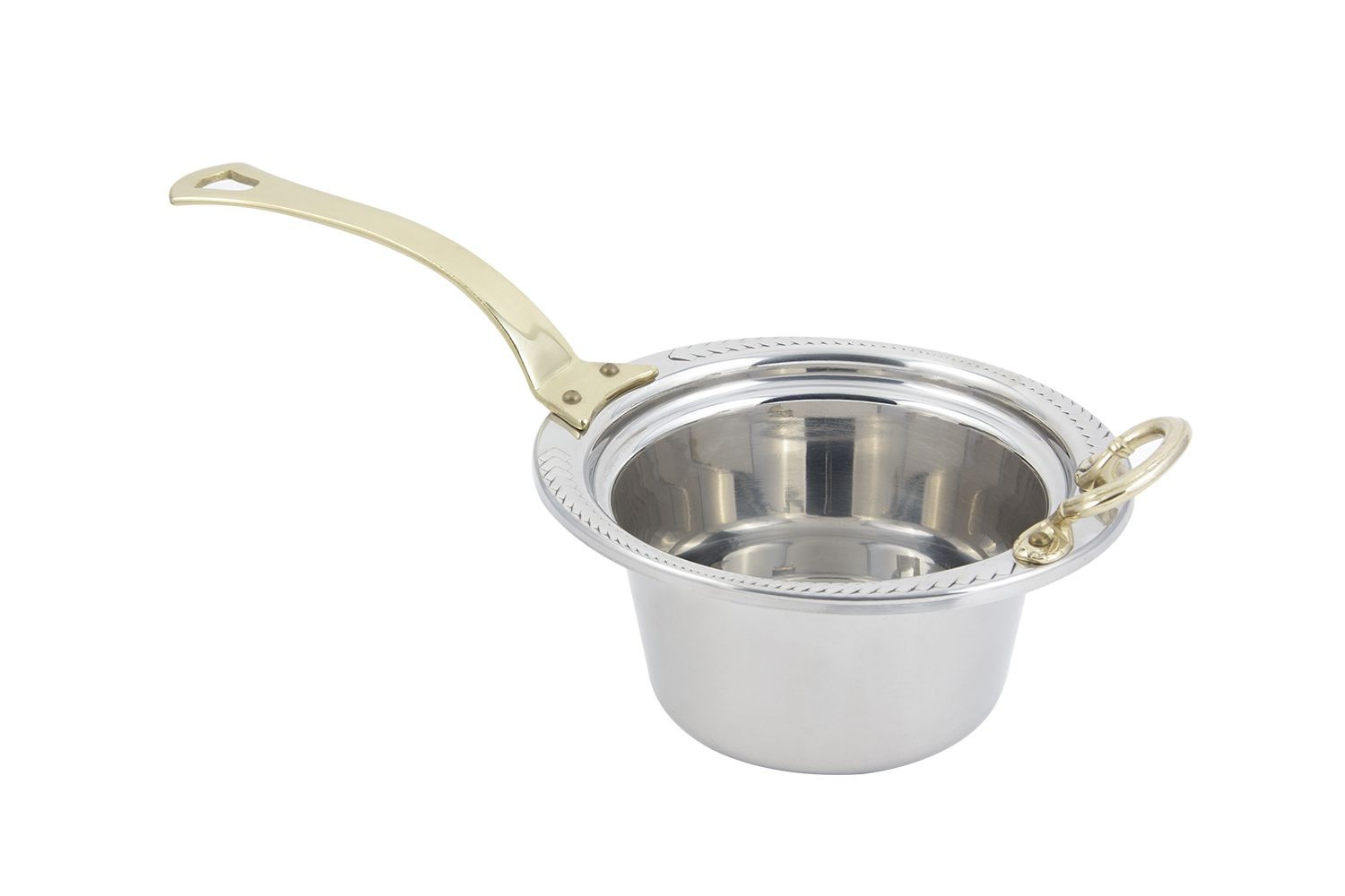 Bon Chef 5450HL Laurel Design Casserole Dish with Long Brass Handle, 2 Qt.