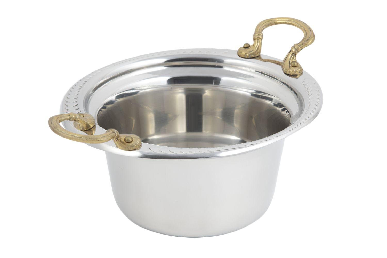 Bon Chef 5450HR Laurel Design Casserole Dish with Round Brass Handles, 2 Qt.