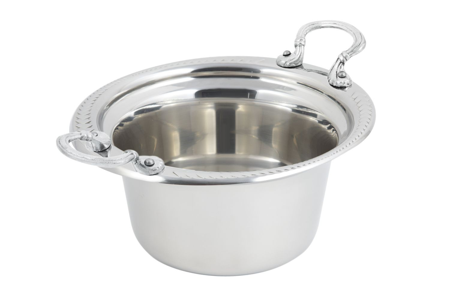 Bon Chef 5450HRSS Laurel Design Casserole Dish with Round Handles, 2 Qt.