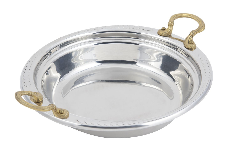 Bon Chef 5455HR Laurel Design Casserole Dish with Round Brass Handles, 2 1/2 Qt.