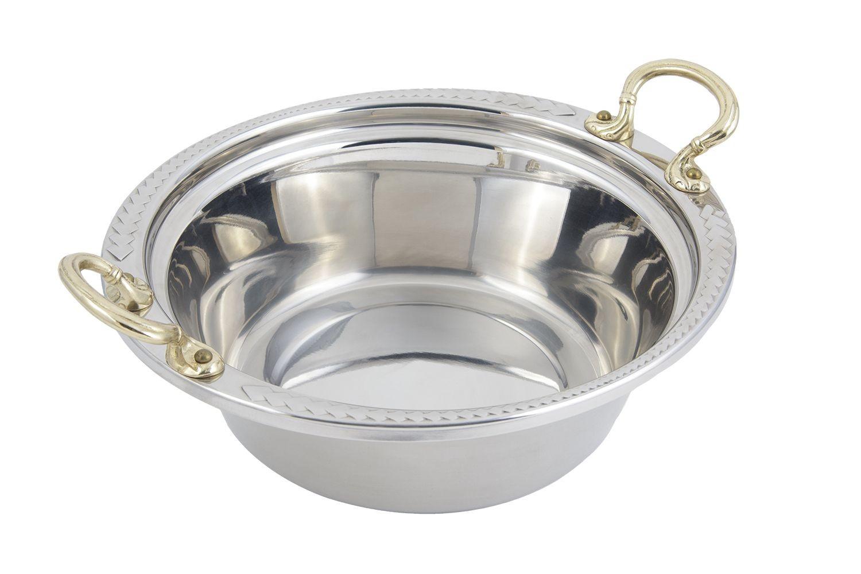Bon Chef 5456HR Laurel Design Casserole Dish with Round Brass Handles, 4 Qt.