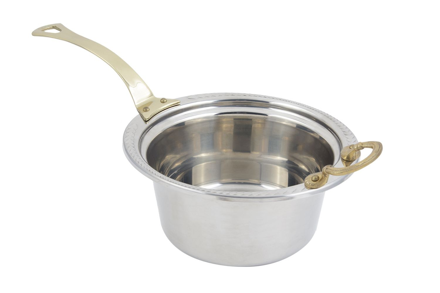 Bon Chef 5460HL Laurel Design Casserole Dish with Long Brass Handle, 5 Qt.