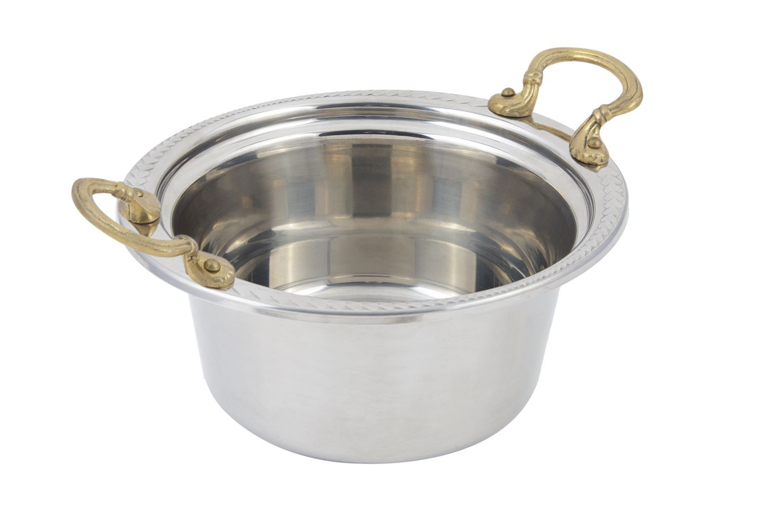 Bon Chef 5460HR Laurel Design Casserole Dish with Round Brass Handles, 5 Qt.