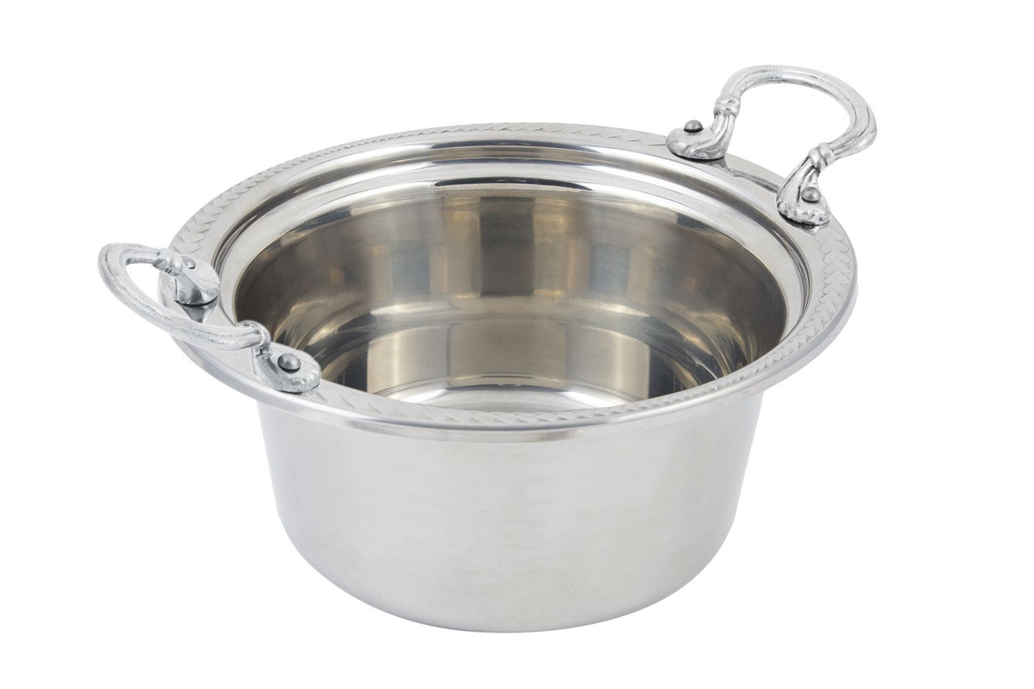 Bon Chef 5460HRSS Laurel Design Casserole Dish with Round Handles, 5 Qt.