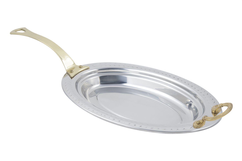 Bon Chef 5488HL Laurel Design Oval Pan with Long Brass Handle, 2 1/2 Qt.