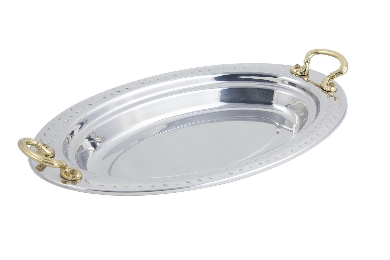 Bon Chef 5488HR Laurel Design Oval Pan with Round Brass Handles, 2 1/2 Qt.
