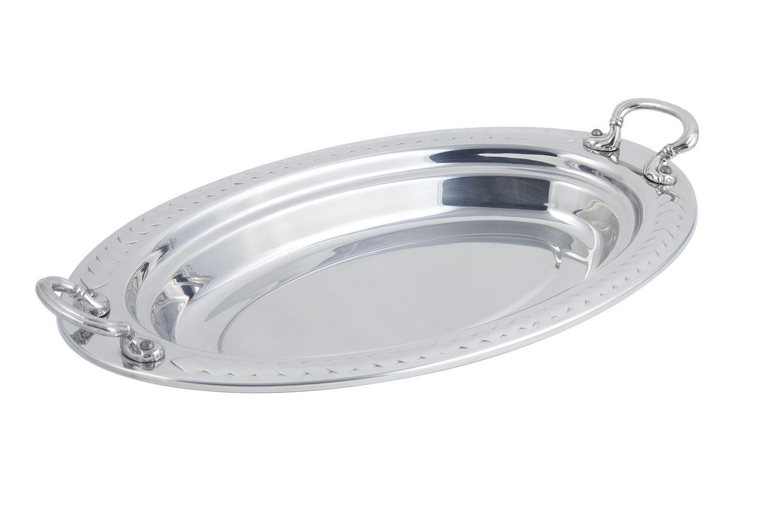 Bon Chef 5488HRSS Laurel Design Oval Pan with Round Handles, 2 1/2 Qt.