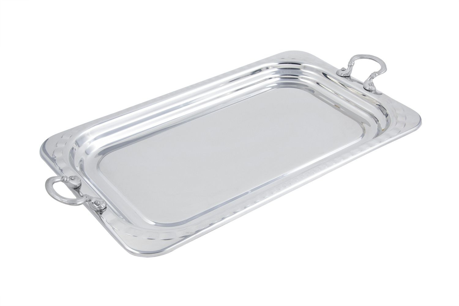 Bon Chef 5607HRSS Arches Design Rectangular Full-Size Food Pan with Round Handles, 4 1/2 Qt.