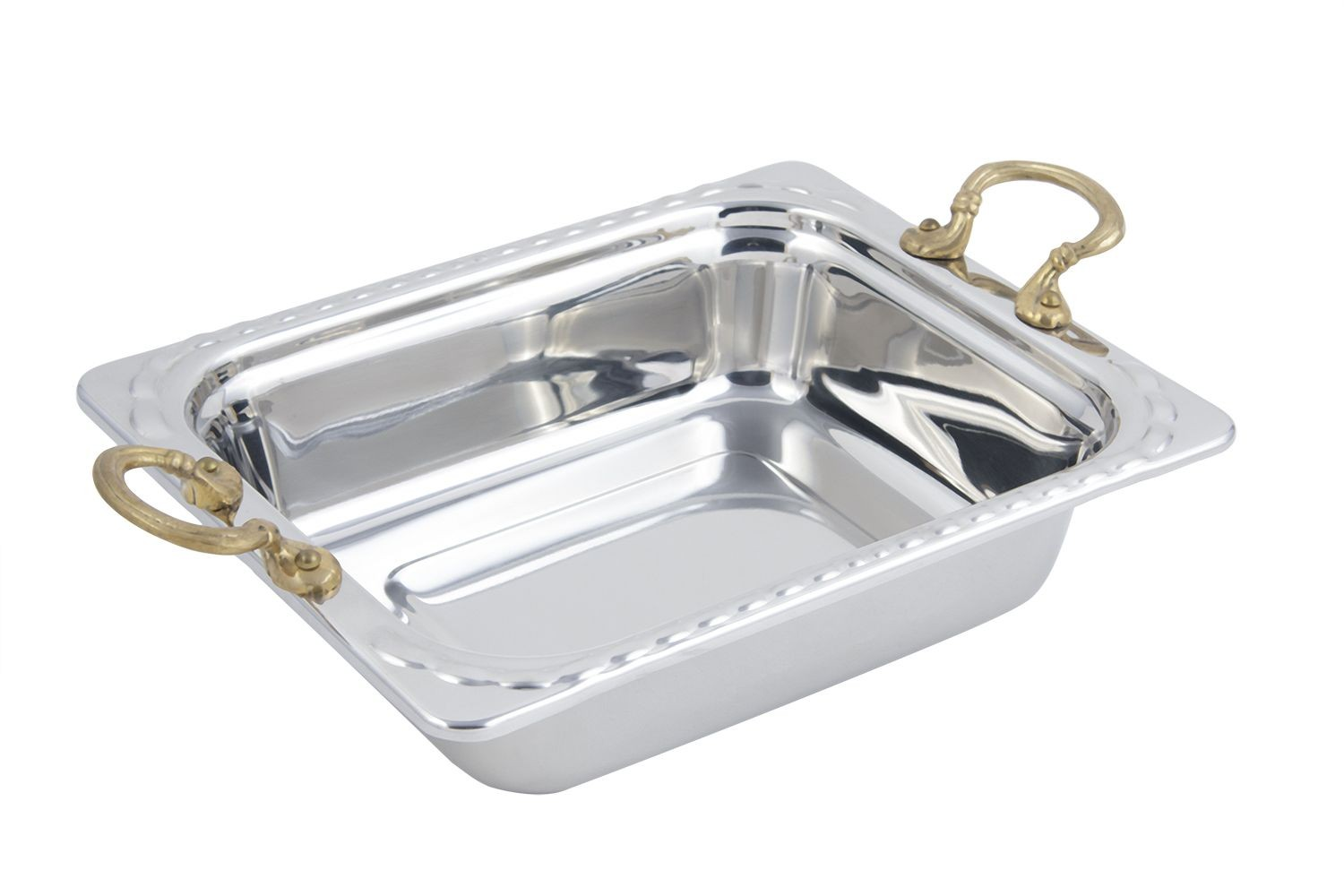 Bon Chef 5609HR Arches Design Rectangular Half-Size Food Pan with Round Brass Handles, 3 Qt.