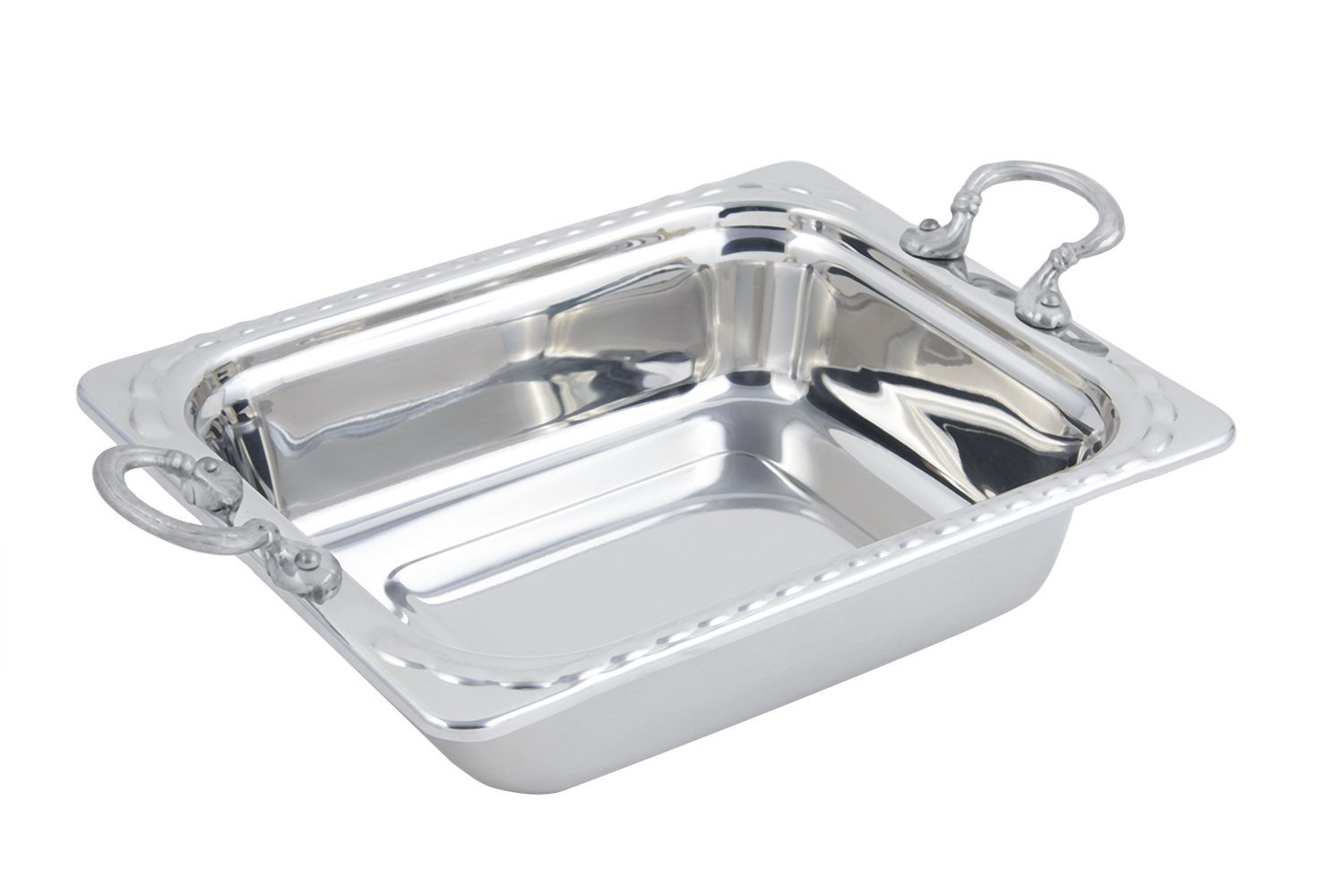 Bon Chef 5609HRSS Arches Design Rectangular Half-Size Food Pan with Round Handles, 3 Qt.