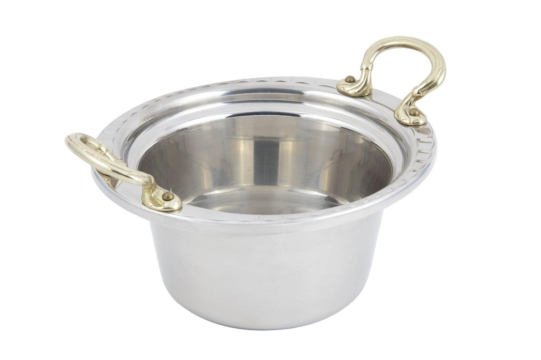 Bon Chef 5650HR Arches Design Casserole Dish with Round Brass Handles, 2 Qt.