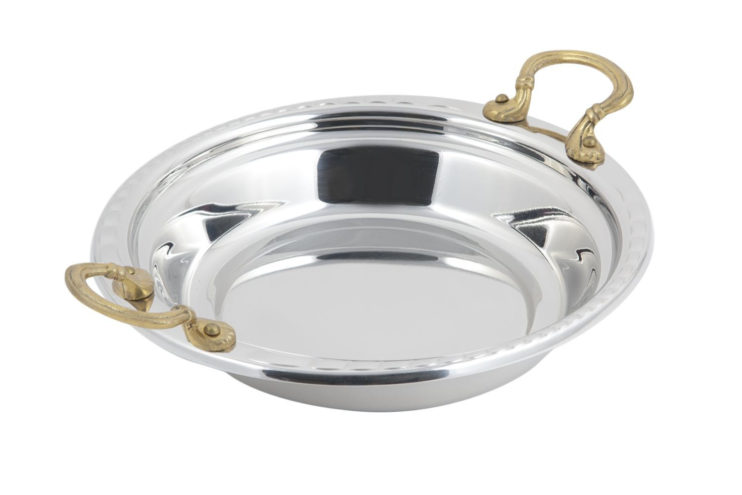 Bon Chef 5655HR Arches Design Casserole Dish with Round Brass Handles, 2 1/2 Qt.