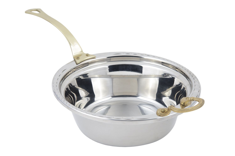 Bon Chef 5656HL Arches Design Casserole Dish with Long Brass Handle, 4 Qt.