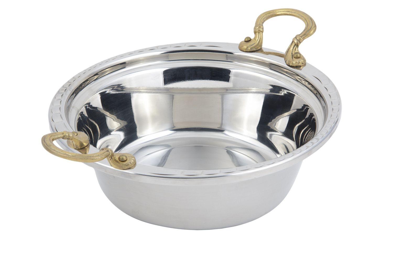 Bon Chef 5656HR Arches Design Casserole Dish with Round Brass Handles, 4 Qt.