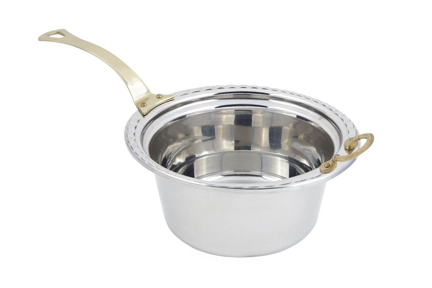 Bon Chef 5660HL Arches Design Casserole Dish with Long Brass Handle, 5 Qt.
