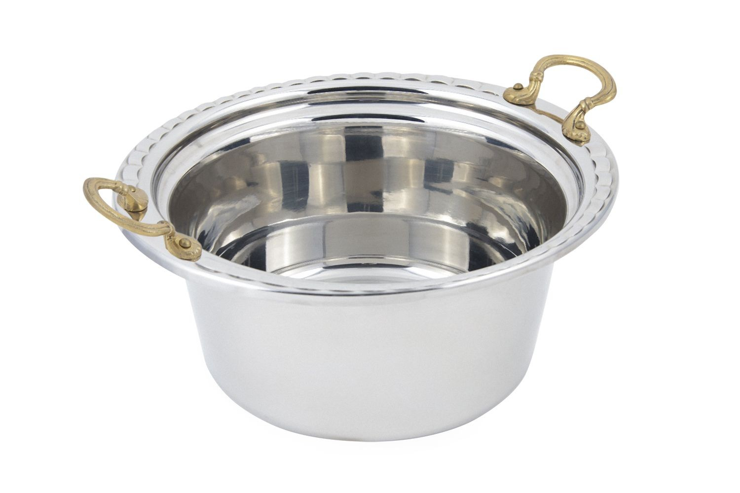 Bon Chef 5660HR Arches Design Casserole Dish with Round Brass Handles, 5 Qt.