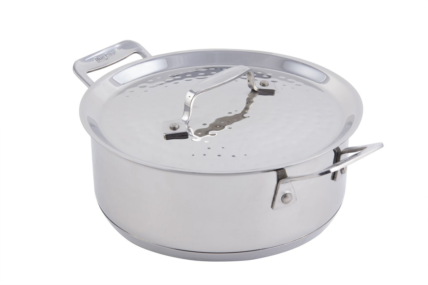 Bon Chef 60000HF Cucina Stainless Steel Casserole Dish with Lid, Hammered Finish, 3 Qt.