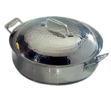 Bon Chef 60001HFHL Cucina Stainless Steel Saute Pan with Hinged Lid, Hammered Finish, 4 Qt.