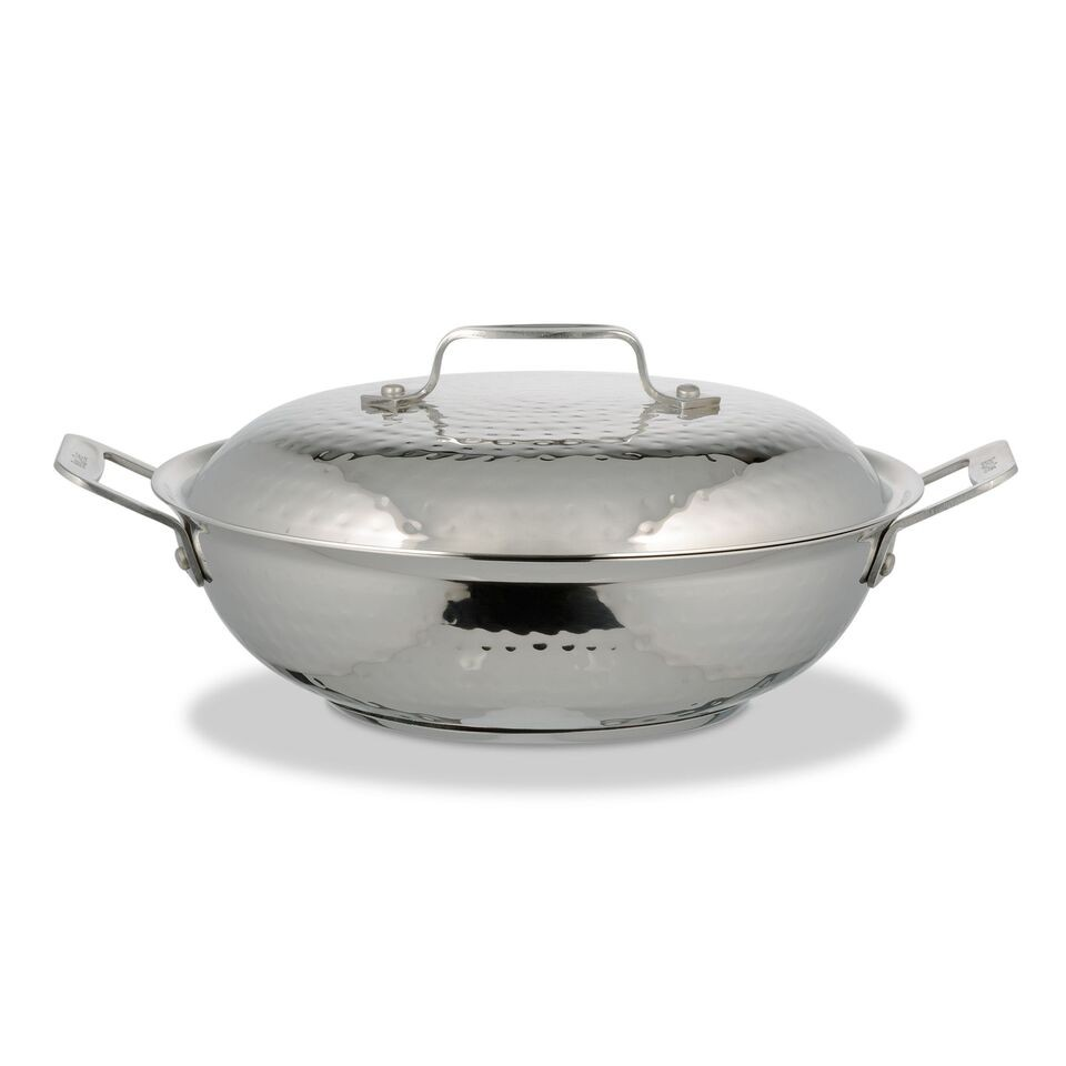 Bon Chef 60011HFHL Cucina Stainless Steel Braiser Pan with Hinged Lid, Hammered Finish, 2 Qt.