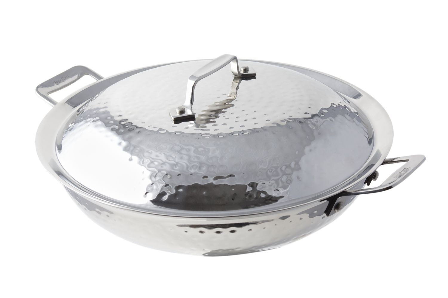Bon Chef 60015HF Cucina Stainless Steel Stir Fry Pan, Hammered Finish, 3 1/2 Qt.