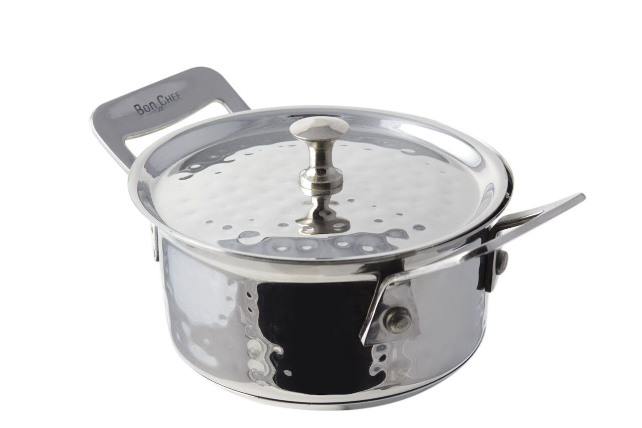 Bon Chef 60021HFHL Cucina Stainless Steel Chef's Pan  with Hinged Lid, Hammered Finish, 11 oz.
