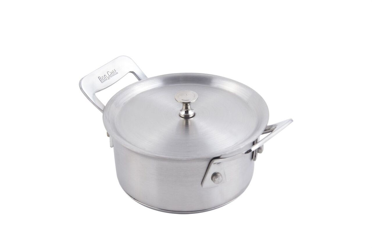 Bon Chef 60021HL Cucina Stainless Steel Chef's Pan with Hinged Lid, 11 oz.
