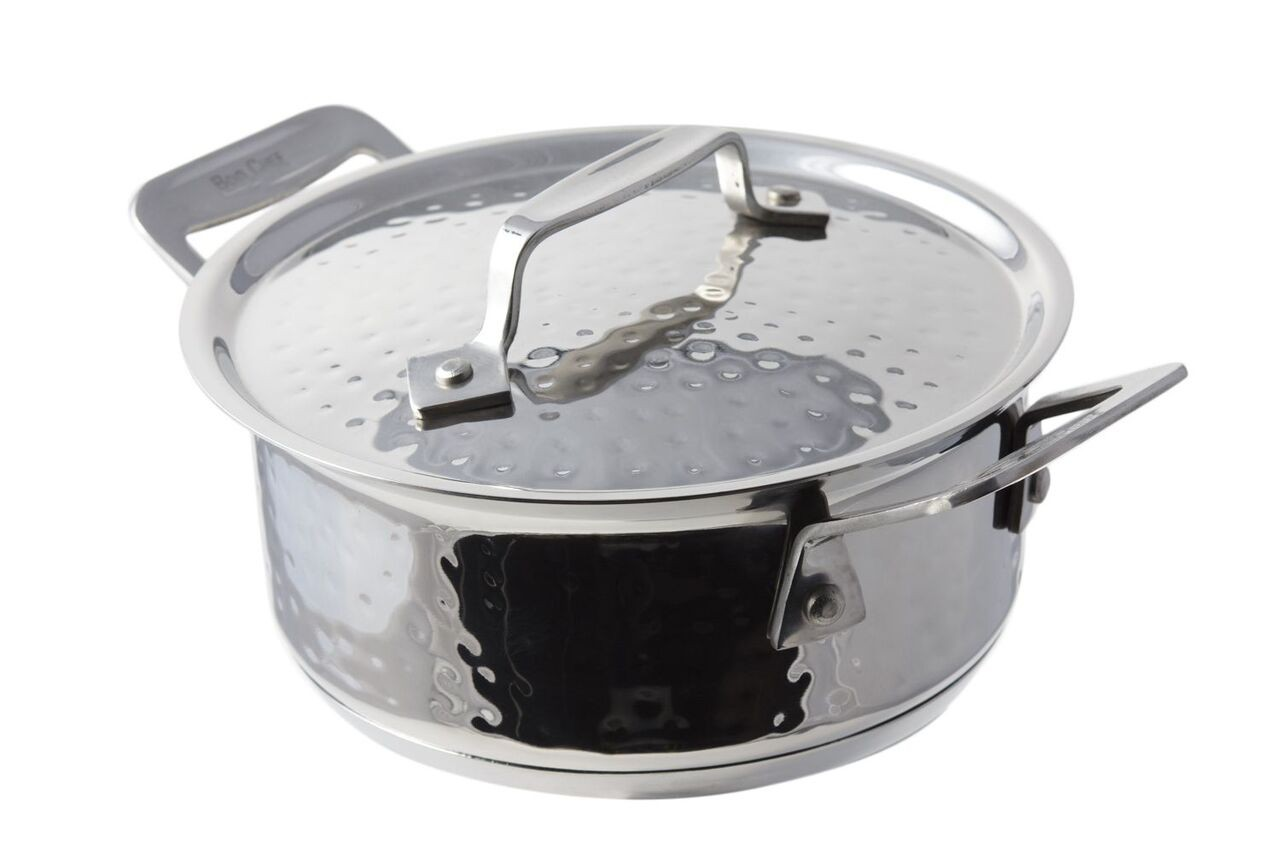 Bon Chef 60025HFHL Cucina Stainless Steel Pan with Hinged Lid, Hammered Finish, 40 oz.