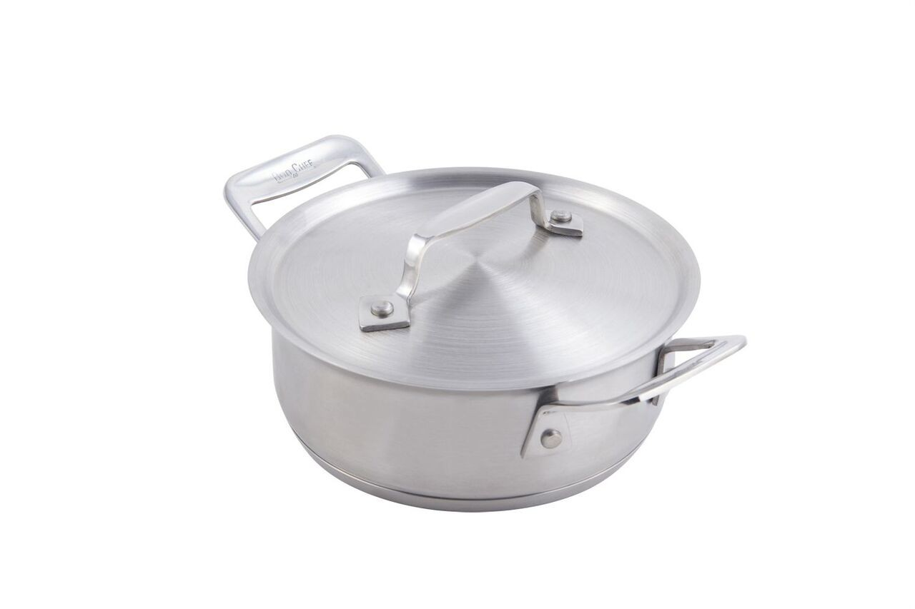 Bon Chef 60027HL Cucina Stainless Steel Casserole Dish with Hinged Lid, 36 oz.
