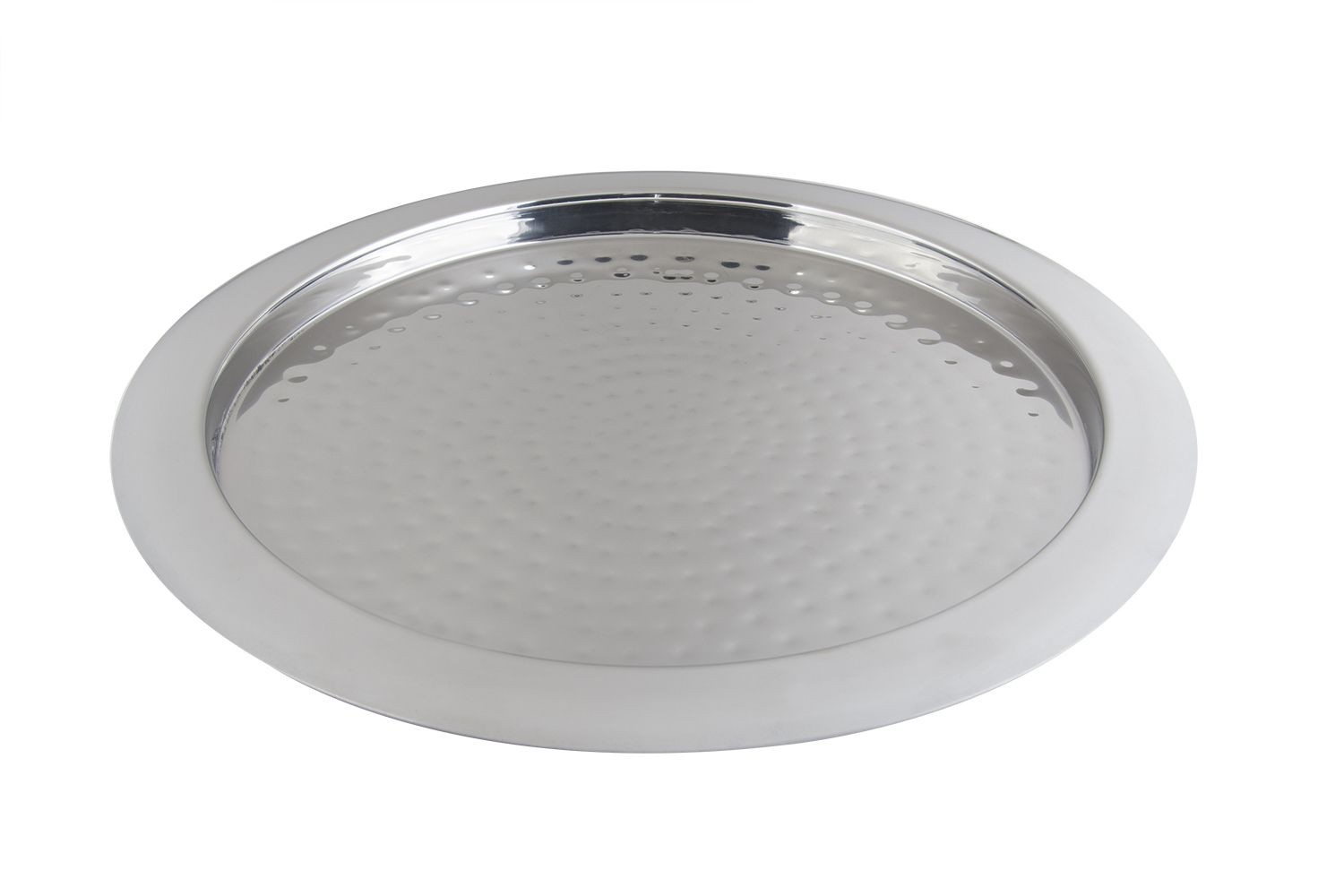 """Bon Chef 61278 Stainless Steel Round Hammered Tray, 15 1/2"""" Dia."""
