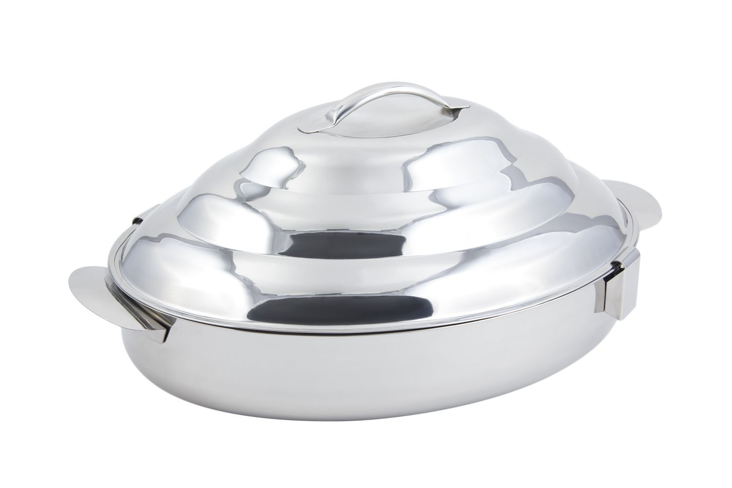 "Bon Chef 61279 Stainless Steel Double Wall Oval Insulated Server with Locking Lid, 23 1/4"" x 15 1/4"" x 10"""