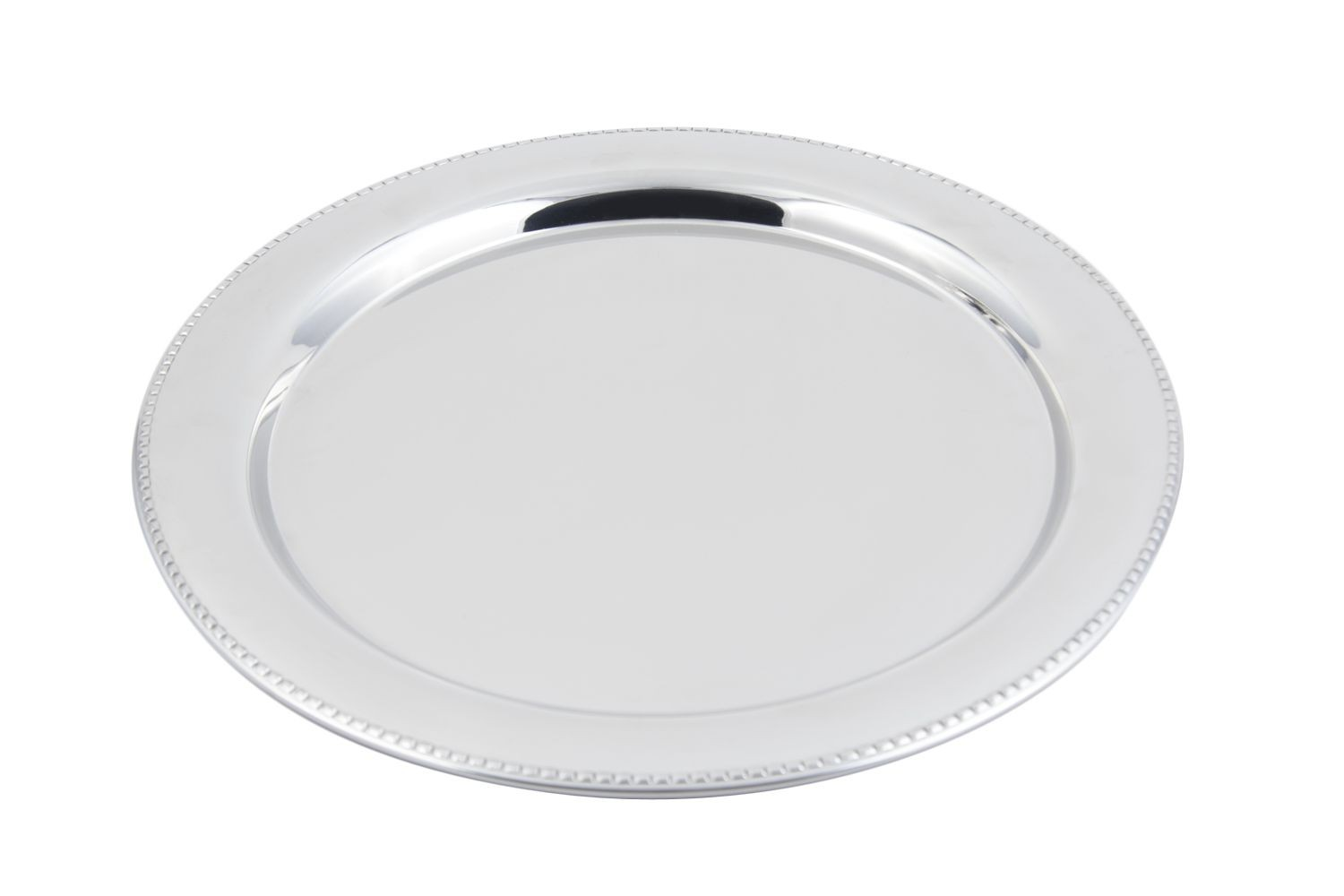 "Bon Chef 61331 Stainless Steel Round Tray with Bead Border, 15"" Dia."