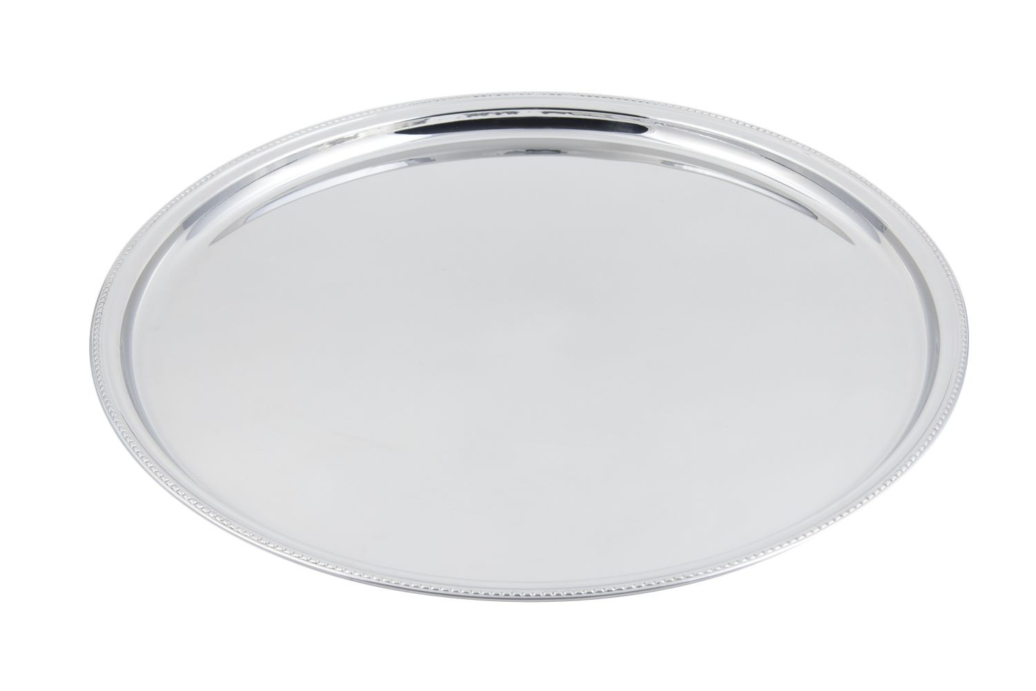 "Bon Chef 61333 Stainless Steel Round Tray with Bead Border, 20"" Dia."