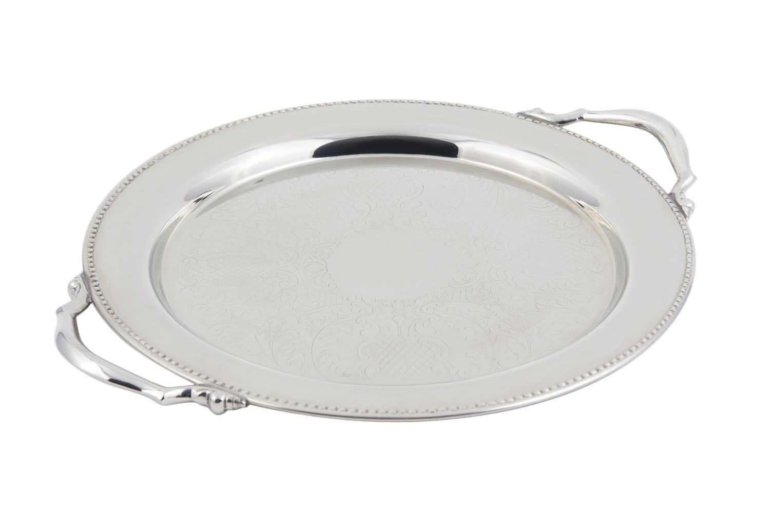 """Bon Chef 61334 Stainless Steel Round Tray with Handles, Etching, and Bead Border, 13"""" Dia."""
